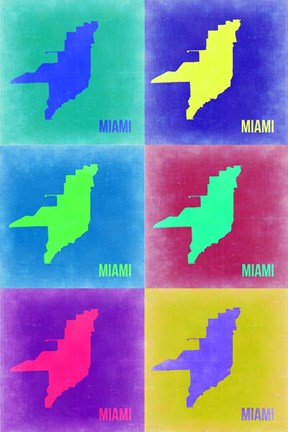 Framed Miami Pop Art Map 3 Print