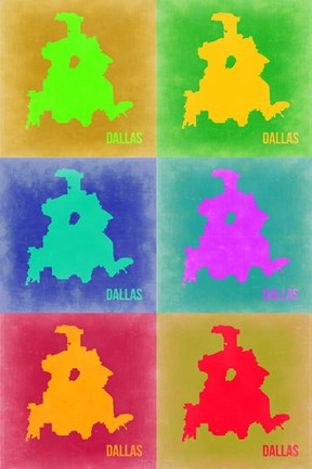 Framed Dallas Pop Art Map 3 Print