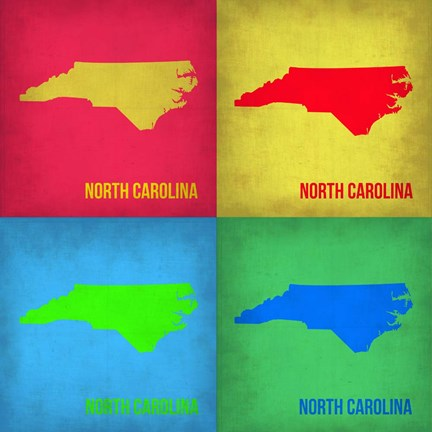 Framed North Carolina Pop Art Map 1 Print