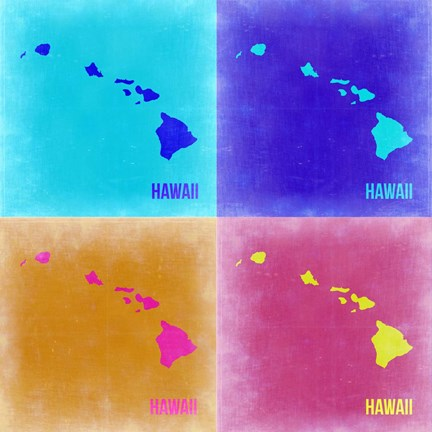 Framed Hawaii Pop Art Map 2 Print