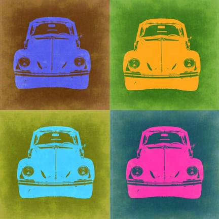 Framed VW Beetle Front Pop Art 2 Print