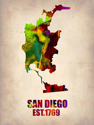 Framed San Diego Watercolor Map Print