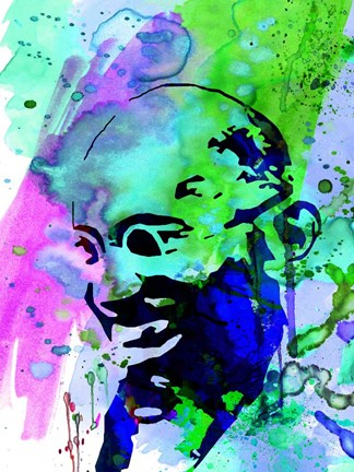 Framed Gandhi Watercolor 2 Print