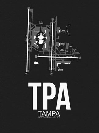 Framed TPA Tampa Airport Black Print