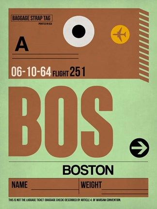 Framed BOS Boston Luggage Tag 1 Print