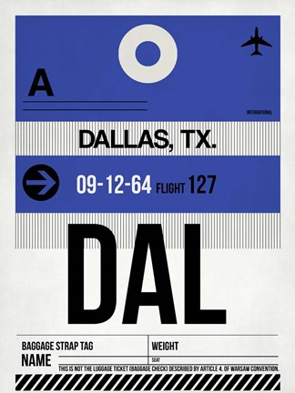 Framed DAL Dallas Luggage Tag 1 Print