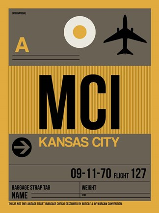 Framed MCI Kansas City Luggage Tag 1 Print