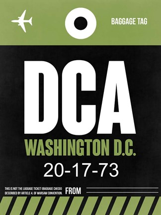 Framed DCA Washington Luggage Tag 2 Print
