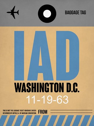 Framed IAD Washington Luggage Tag 1 Print