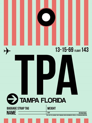 Framed TPA Tampa Luggage Tag 1 Print