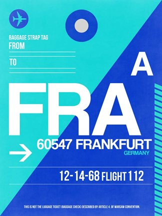 Framed FRA Frankfurt Luggage Tag 1 Print