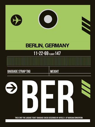 Framed BER Berlin Luggage Tag 2 Print