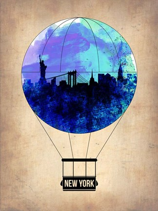 Framed New York Blue Air Balloon Print
