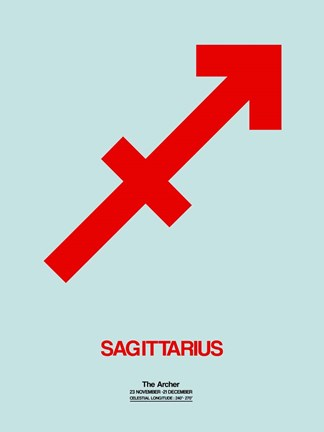 Framed Sagittarius Zodiac Sign Red Print
