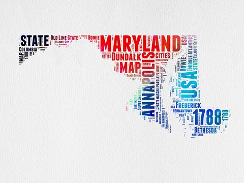 Framed Maryland Watercolor Word Cloud Print