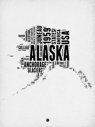 Framed Alaska Word Cloud 2 Print