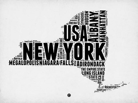 Framed New York Word Cloud 2 Print