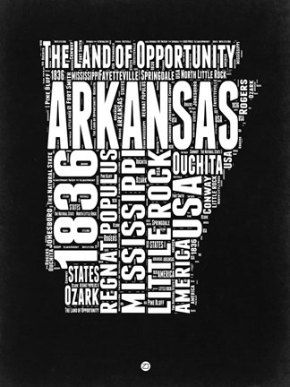 Framed Arkansas Black and White Map Print