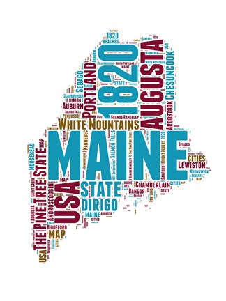 Framed Maine Word Cloud Map Print