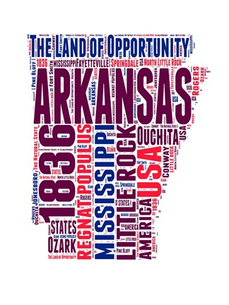 Framed Arkansas Word Cloud Map Print