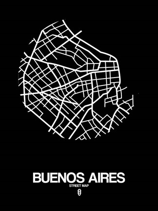 Framed Buenos Aires Street Map Black Print