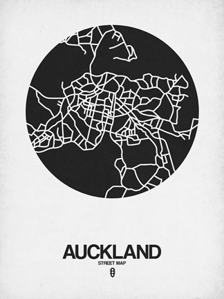 Framed Auckland Street Map Black on White Print