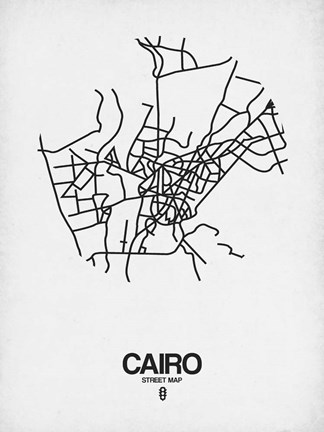 Framed Cairo Street Map White Print