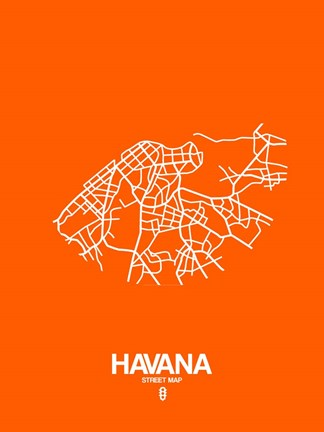 Framed Havana Street Map Orange Print