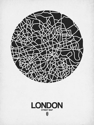 Framed London Street Map Black on White Print