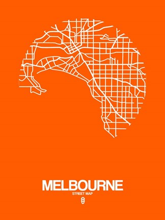 Framed Melbourne Street Map Orange Print