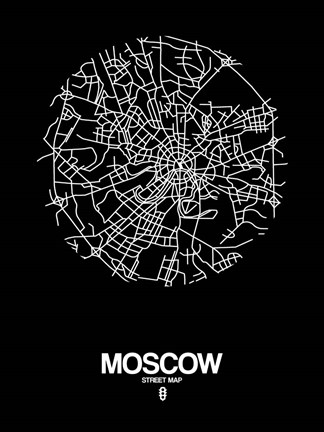 Framed Moscow Street Map Black Print