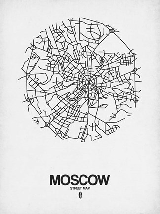 Framed Moscow Street Map White Print