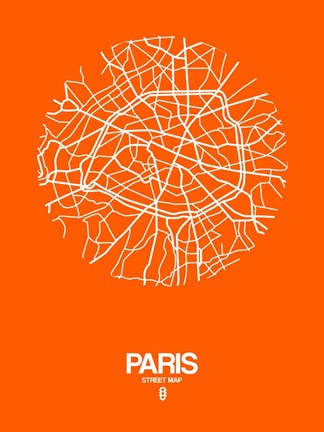 Framed Paris Street Map Orange Print