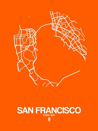 Framed San Francisco Street Map Orange Print