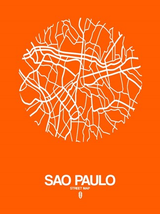 Framed Sao Paulo Street Map Orange Print