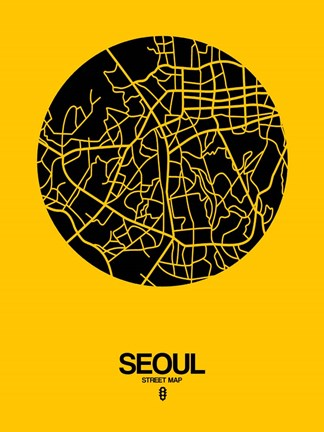 Framed Seoul Street Map Yellow Print