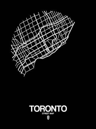 Framed Toronto Street Map Black Print