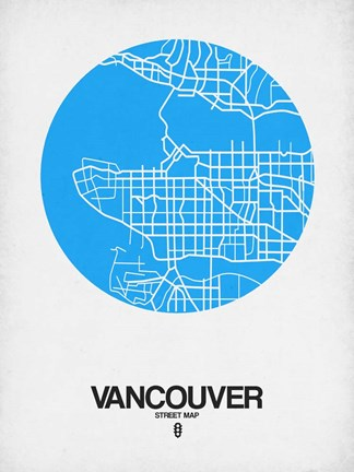 Framed Vancouver Street Map Blue Print