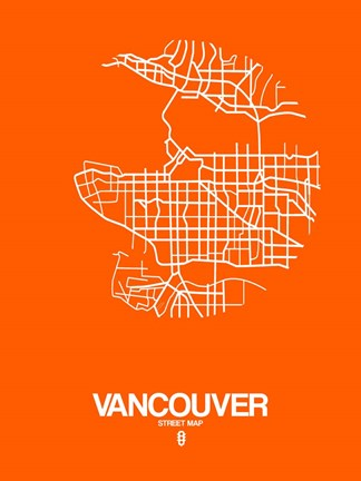 Framed Vancouver Street Map Orange Print
