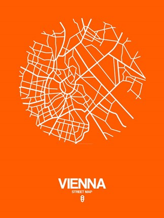 Framed Vienna Street Map Orange Print