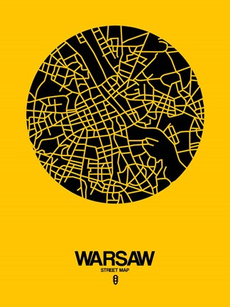 Framed Warsaw Street Map Yellow Print