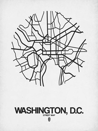 Framed Washington DC  Street Map White Print