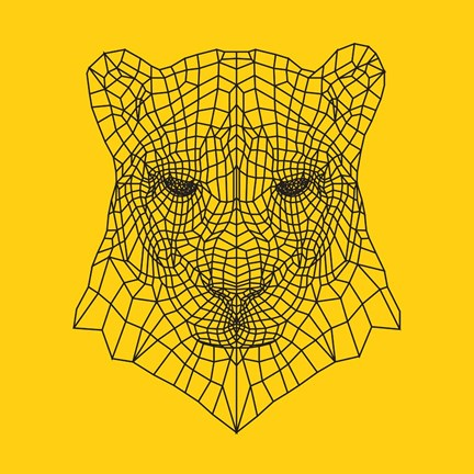 Framed Panther Head Yellow Mesh Print