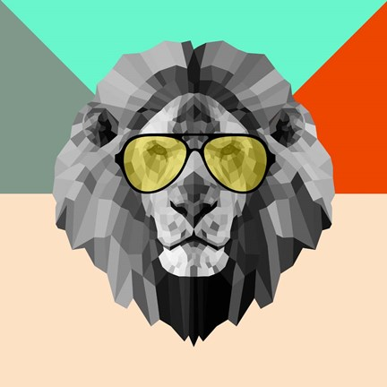 Framed Party Lion in Glasses Print