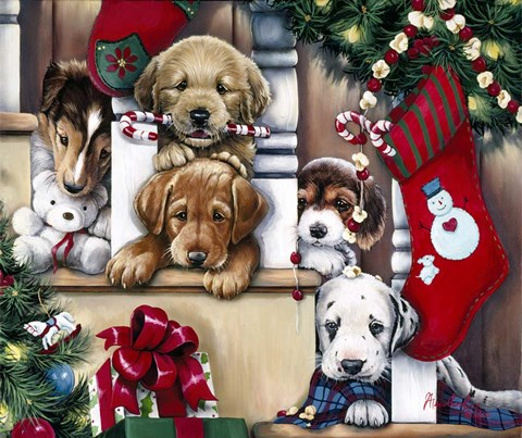 Christmas Puppies.Jenny Newland Christmas Puppies On The Loose