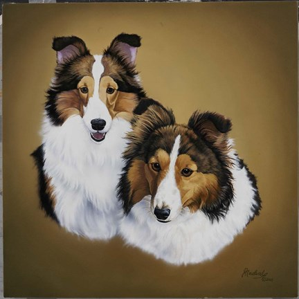 Framed Collies 1 Print