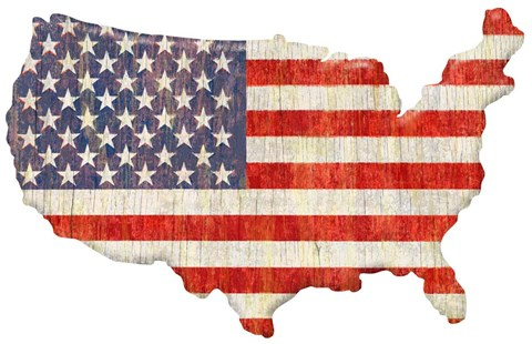 American Flag Continent Cut Out Fine Art Print By