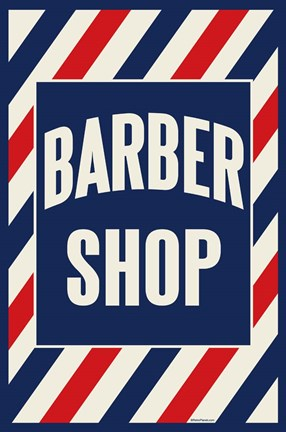 Framed Barber Shop Stripes Print