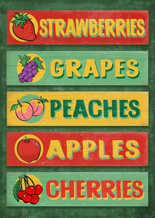 Framed Farm Stand Board - Fruit Print