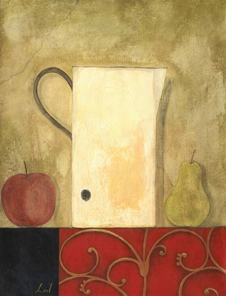 Framed Jug and Fruit I Print